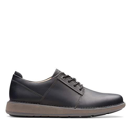 Clarks Un Larvik Lace, Zapatos de Cordones Derby para Hombre, Piel Negra Negra, 43 EU