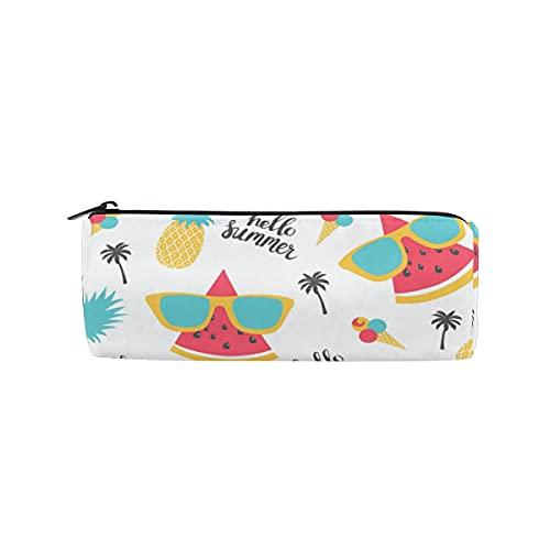 ISAOA - Estuche para lápices de sandía, piña, redondo, bolsa de almacenamiento para bolígrafos, ideal para niños, estudiantes u oficiales, bolsa de maquillaje de viaje