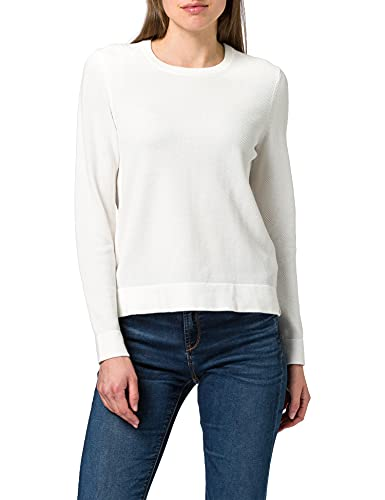 GANT Damen Cotton Pique C-Neck Pullover, Eggshell, XL