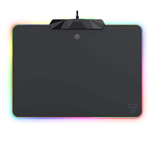 MOTOSPEED RGB Gaming Mouse Pad -LED Lighting Effects,Wired,Hard Surface Gamer Mouse Mat for Laptop Computer PC Games(13.8X9.8 Inch) [ New 2019 Version ]