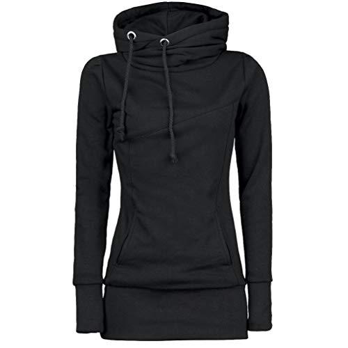 MORCHAN❤Femme Automne Hiver Manteau Veste à Capuche Hoodie Shirt Casual Jumper Sport Hauts Tops Pullover Blouse Blouson Sport Sweat Sweatshirt (FR-42/CN-S,Noir-3)