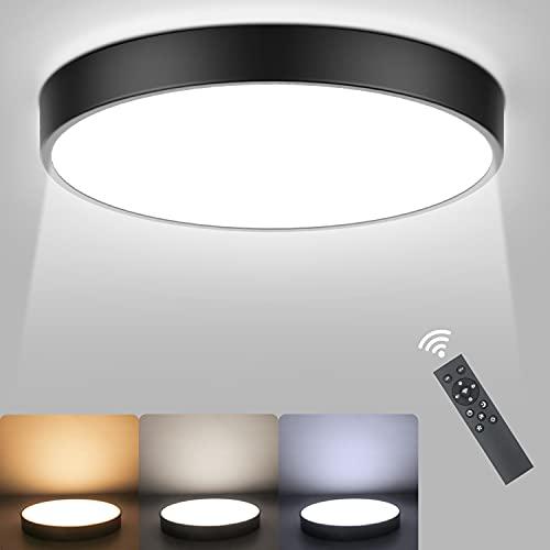 Ketom 27W LED Lámpara de Techo con Mando a Distáncia Temperatura Regulable 2800K-6500K Plafón Techo LED Inteligente Redondo Moderno Lámpara Techo Luz Negro para Sala Oficina Ø40*5CM (Max 54W)