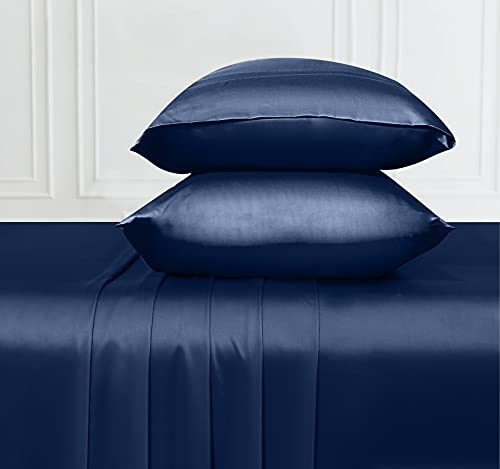 Soft & Silky Cooling Sheets Fabric from 100% Bamboo, Wrinkle Resistant Bamboo Sheet Set Queen with Deep Pocket Fitted Sheet, Rayon (Navy Blue)