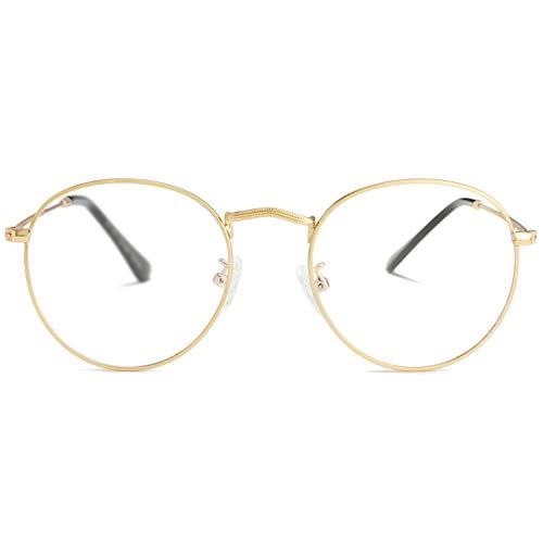 Round Clear Lens Glasses for Women Men Circle Frame Non-Prescription Eyeglasses (Gold)