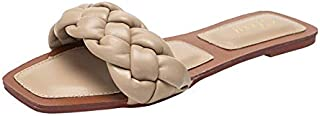 Litthing Ladies Woven one-Word Flat Non-Slip Slippers with Flat Bottom