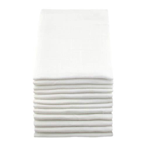 Muslinz Mussola Quadrata Per Bambini, 12 Pezzi, Bianco