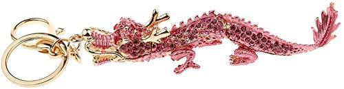 Spielzeug Mode Bling Strass Drache Keychain Schlüsselring-Taschen-Charme - Pink
