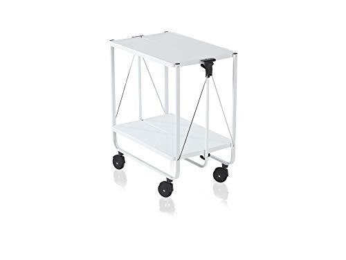 Leifheit Carro de servir Side-Car de acero, carrito auxiliar con asa montable/desmontable, camarera con ruedas y dos bandejas plegables