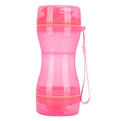CHENGGONG Botella de Agua portátil para Mascotas 2 en 1, Botella de Agua para Mascotas, Taza de Comida, Mascotas para Perros(Pink)