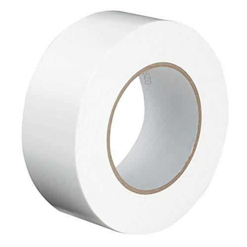 Gocableties - Nastro isolante telato di prima qualità, bianco, 48 mm x 50 m, resistente, con spessore di 1,8 mm