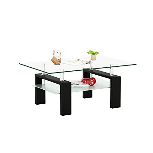 Meihua Rectangle Glass Coffee Table 2-Tier Tea Table Modern Side Coffee Table for Living Room Black