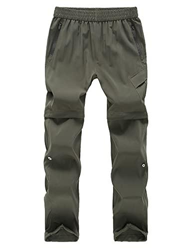 Echinodon Kinder 2-in-1-Funktionshose Zipp Off Hose Outdoorhose Jungen Mädchen Wanderhose Trekkinghose Sommer Frühling Armeegrün 120
