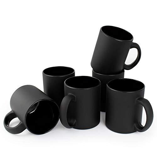 Werbewas satinierte Kaffeebecher, schwarz/matt, 6er Set - Glas Kaffeetassen ohne Druck - Elegante Milch-Glas Becher für Büro und Haushalt, 300ml Tasse/Pott für Kaffee, Tee und mehr - B Ware