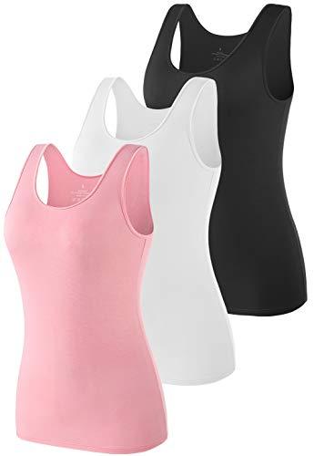 vislivin Camisetas sin Mangas Casuales elásticas Supersoft Camisole para Mujer Negro/Blanco/Rosado L