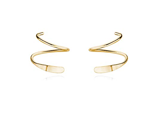 Reffeer 925 Sterling Silver Minimalist Crawler Earrings Wrap Cuff Earrings For Women Teen (Yellow)