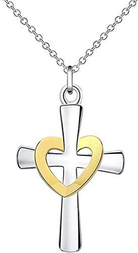 NC110 Collares de Cruz de corazón chapados en Plata, Colgante de Collar de Cadenas de joyería dicroica para Mujer YUAHJIGE
