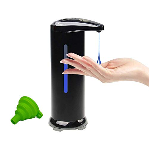 Automatic Soap Dispenser Touchless - Stainless Steel - Black - hands free motion sensor - waterproof for bathroom or kitchen countertop - also other liquids - adjustable liquid amount - viewing window