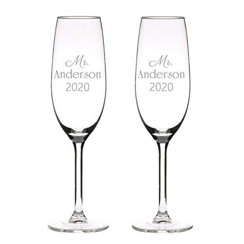 Champagne 2 calici in vetro, personalizzati con incisione - classico (1)