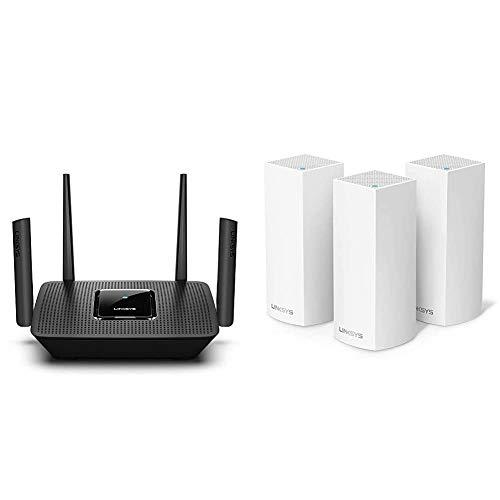 Linksys MR9000 Tribanda Mesh Router Wi-Fi + WHW0303 Sistema Velop WiFi Mesh tribanda para Todo el hogar
