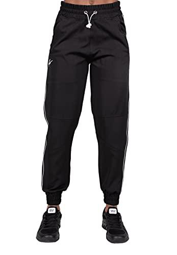 Gorilla Wear - Pasadena Woven Pants - Schwarz - Bodybuilding Laufen Sport Alltag Freizeit mit Logo Aufdruck elastisch aus Polyester leicht und bequem, S