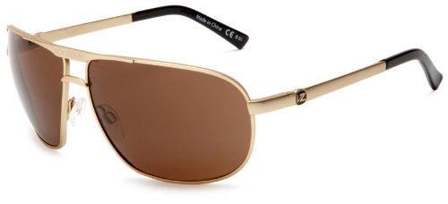 Von Zipper Skitch Aviator Sunglasses,Gold Satin Frame/Bronze Lens,one size