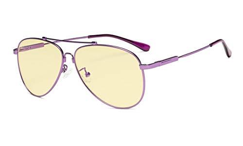 Computer Lesebrille Anti Blaulicht Brillen Pilot Style Memory Rahmen-Gelb Getönte Glas Damen und Herren LILA+0.00