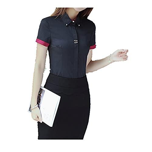 N\P Shirt Short Sleeve Summer Color Contrast Slim Professional Shirt Women's Dress top Bottom Shirt Black