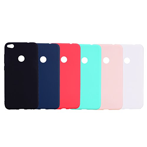 6 x Funda para Huawei P8 Lite 2017, Carcasa en Silicona -Tapa Protectora Suave de TPU Color sólido Silicona Ultrafina[Negro,Azuloscuro,Rojo,Verde Menta, Rosa,Transparente]
