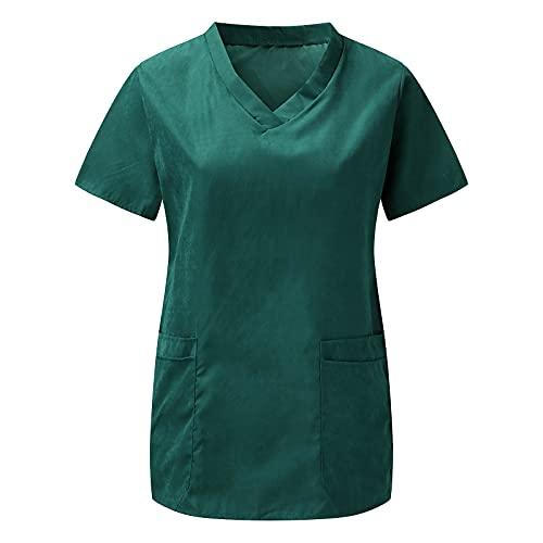 Briskorry Casaca de mujer para cuidado con bolsillo en el pecho, monocolor, cuello en V, manga corta, unisex, suave y cómoda, ropa de cuidado, verde, M