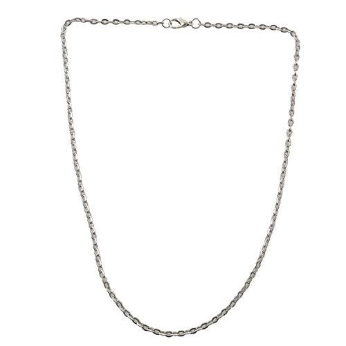 TANOU Cadena de joyeria de Hombres y Mujeres, Collar de Acero Inoxidable, Plata – Anchura 3mm - Longitud 45cm
