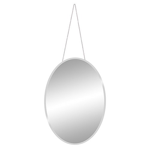 Patton Wall Decor 17x24 Frameless Beveled Oval Mirror with Hanging Chain, -