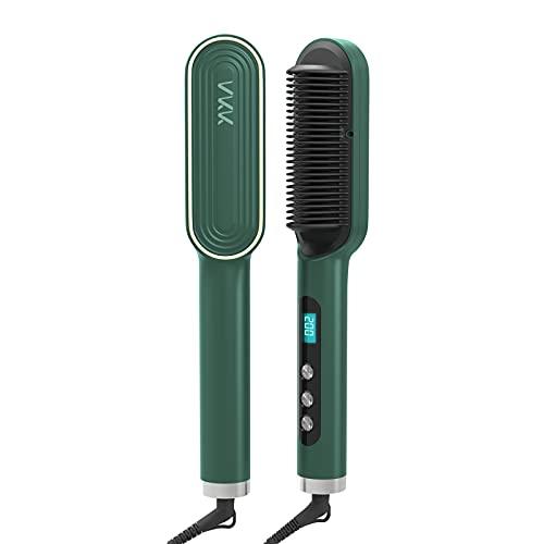 VKK Upgraded Ionic Hair Straightener Brush Hair Straightening Hot Brush Fast Ceramic PTC Heating Smoothing Brush 5 Levels Adjustable Green
