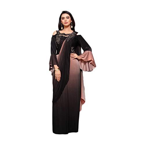 Diseñador Lycra Sari Blusa Indo Western Vestido Sari Con Manga Larga Campana Maxi Vestido De La Boda Indio Vestido De Fiesta De La Boda 9178 (8)