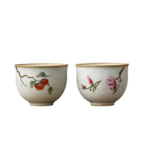YANGYUAN Multipurpose Teaware Flower Ceramic Tea Mug Chinese Zen-inspired Teacups Porcelain Tea Cup Decorative Cups Use for Hot & Cold Drinks Gift Tea Cups (Color : Set of 2)