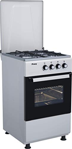 Cocina 50 cm de ancho con horno PROXY, color silver, 3 fuegos (incluye 1 Triple Fuego) y horno con grill a gas (butano o natural).