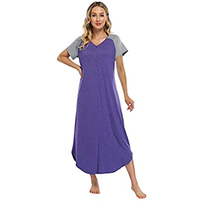 Coolmee Women's Long Nightgown V Neck Butto...
