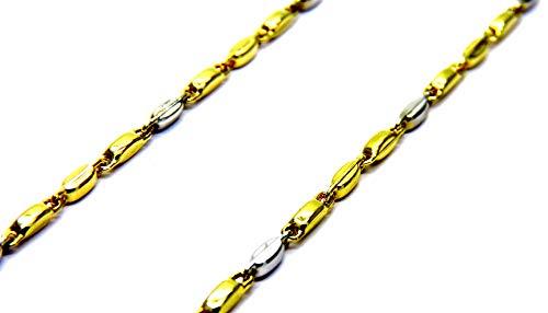 Collana Oro Giallo Bianco 18kt (750) Catena Segmenti Bicolore Cm 50 Uomo