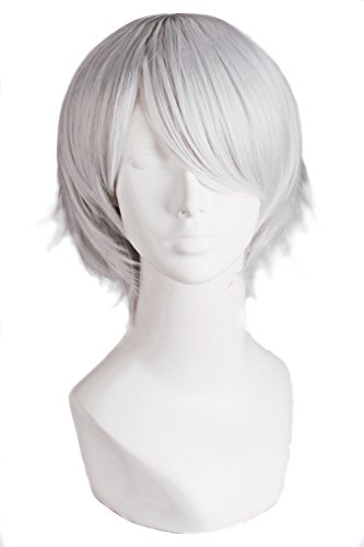 MapofBeauty Men's Short Straight Wig Cosplay Costume Wig (Silver Grey)