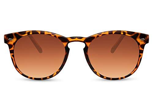 Cheapass Sunglasses Gafas de sol Encantador marco de leopardo redondo con lentes degradados marrones Diseño de moda Protección UV400 para mujer