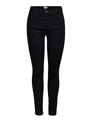 Only Onliris Mid Skinny ANK Pushup BB Mah023 Jeans, Negro, 28/32 para Mujer