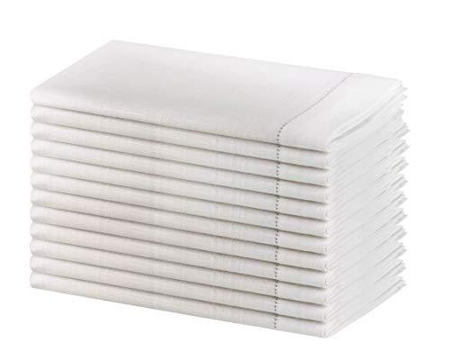 SweetNeedle - Packung mit 12 Stück - Slub Baumwolle handgefertigte Designer Ladder Lace Hemstitched Servietten 50x50 cm (20x20 Zoll) in weißer Farbe - Premium-Leinen-Look - 100% Cellulose Naturfaser