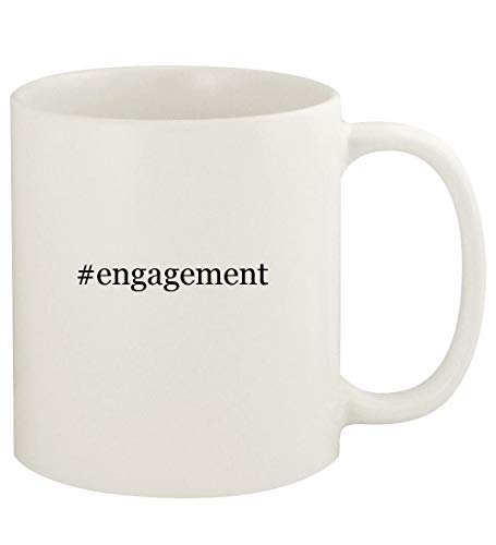 #engagement - 11oz Hashtag Ceramic White Coffee Mug Cup, White