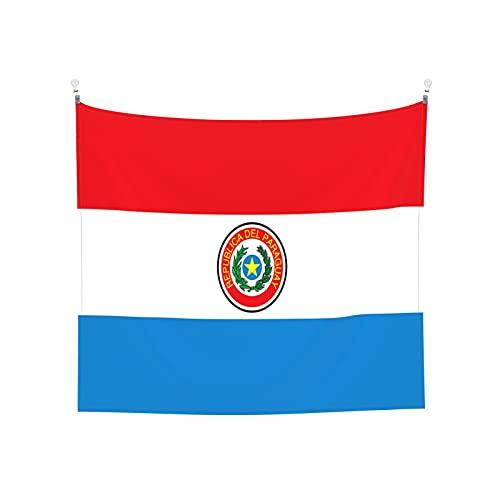 Flaggen von Paraguay Tapisserie, Wandbehang, Tarot-Boho, beliebte mystische Trippy-Yoga-Hippie-Wandteppiche für Wohnzimmer, Schlafzimmer, Wohnheim, Heimdekoration, schwarz & weiß Stranddecke