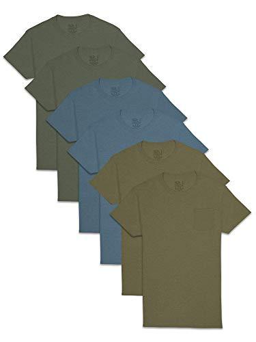 Fruit of the Loom Men's Short Sleeve Pocket T-Shirt, 6 Pack-Assorted...