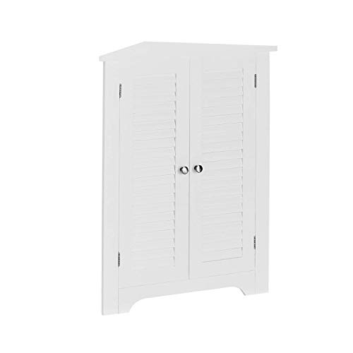 AZ L1 Life Concept Corner Floor Cabinet free standing with double shutter doors and 3 shelves white finish
