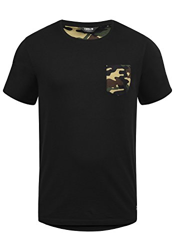 !Solid Calvin Herren T-Shirt Kurzarm Shirt mit Rundhalsausschnitt und Camouflage-Brusttasche, Größe:M, Farbe:Black Dusty (D9000)