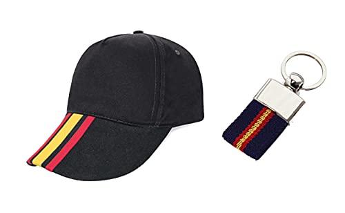 Los Eventos de la Tata. Pack de Gorra con la Bandera de España y Llavero con la Bandera de España. Mundial de Futbol. Selección Española (Gorra Negra-Llavero Negro)