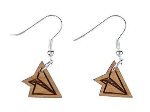Aretes Miniblings pendientes aviones de papel pendiente pilotos de aviones del estilo de Origami joyería de- hecha a mano de joyería de moda de plata I Pendientes