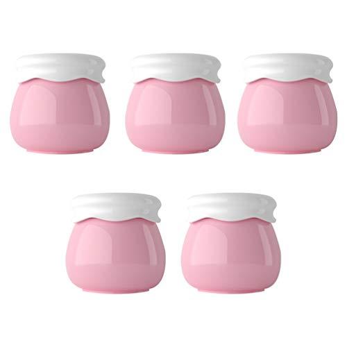 Mobestech 5Pcs Vides Pots de Plastique en Plastique Beaux Récipients D'échantillons Rechargeables Étui de Stockage de Crème pour Lotion Poudre Gommage Corps Crème Perles Pilules (Rose)