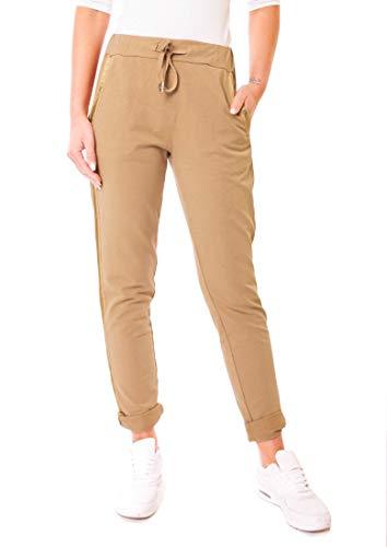 Easy Young Fashion dames broek joggingbroek lang sportbroek vintage vrije tijd sweatbroek katoen met zijstrepen